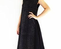 DS798 Women Clothing Organic Cotton Dress Unique Long Dress Maxi Dress Comfy Dress Luxury Pleated Dress Party Dress Cocktail Dress Black