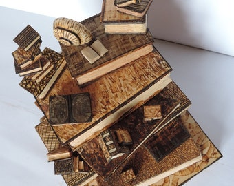 Handcarved Pinus Cembra wood sculpture – Miniatured books with a snail