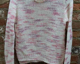 Vintage Cream,  Pink and Silver Open Knit Long-Sleeved Jumper / Sweater Size XS/Small