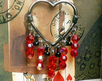Gifts for Her, Red Heart Chandelier Earrings, Dangle Earrings, Valentine's Earrings, Boho Earrings, Gypsy Earrings, Red Swarovski Crystals