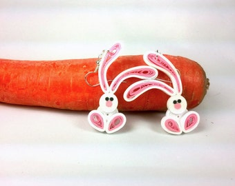 Easter Bunny Earrings Paper Quilling - paper quill earrings, rabbit earrings, quilled bunny earrings, paper quilling jewelry, paper earrings