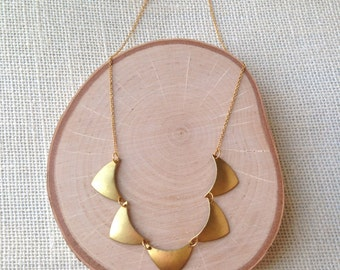 Gloria Necklace - Geometric Statement Jewelry - Five Rounded Brass Chevron Stampings, Thin Golden Chain - Bib Necklace - Trend Jewelry