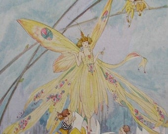 Vintage Children's Print - 1923 BABY FAIRIES by CARLTON - Hyacinth Bell Beds - Crocus Cup Beds - Matted - Ready to Frame