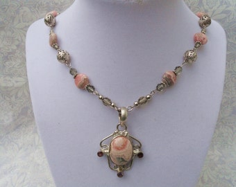 Rhodochrosite & Multi Gemstone Necklace | Art Nouveau | Free Shipping And Gift Box/Bag