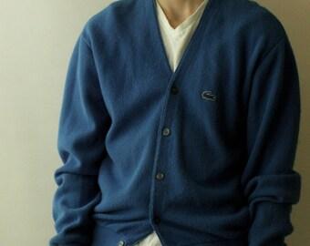 Mens 1980's Izod Cardigan / Mens Vintage Blue izod Sweater