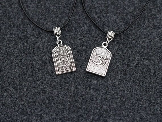 Buddha, OHM Choker Necklace Pendant Statement Locket Cord Collar 90s Leather Harness Dress Trendy Boho String Tattoo Bdsm Grunge