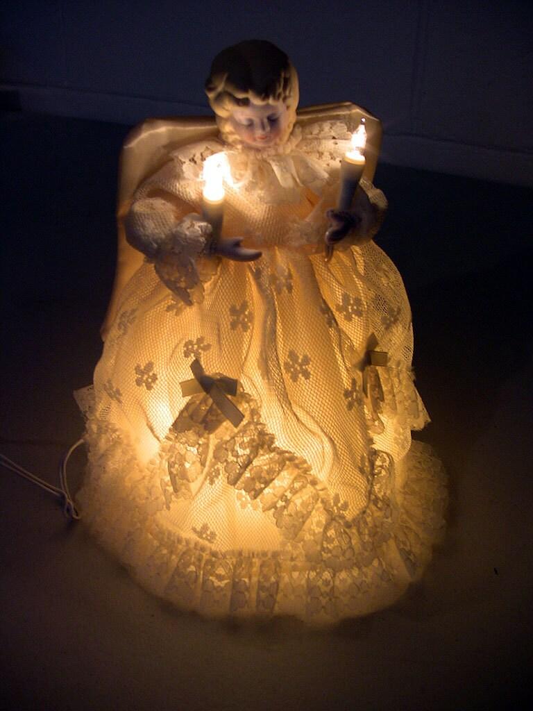 vintage christmas tree topper lighted angel decoration bisque. Black Bedroom Furniture Sets. Home Design Ideas