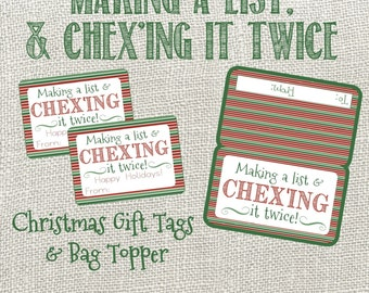 Christmas Chex Mix Bag Topper and Gift Tag- Making A List and Chex'ing It Twice. Instant Digital Download