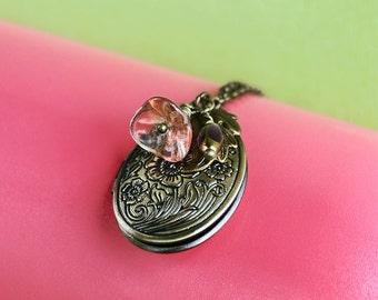 Lily Locket Necklace, Oval Locket, Vintage Locket Necklace, Secret Locket, Antique Locket, Jewelry, Holiday Gifts