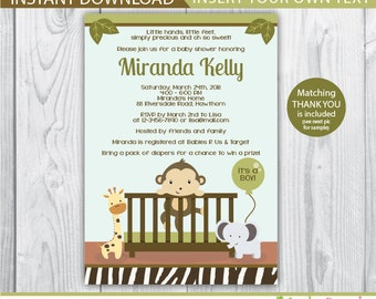 monkey baby shower / monkey invitation / baby monkey invitation / monkey baby shower invitation / monkey invite / INSTANT DOWNLOAD