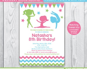 gymnastic birthday party / gymnastic birthday / gymnastic invitation / gymnastic birthday invitation / gymnastic printable / INSTANT PDF