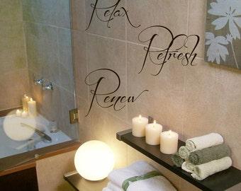 relax refresh renew wall decals wall words vinyl sticker bath words bathroom bath home decor vinyl