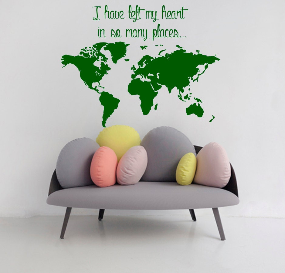 World map wall decals love quote ive left my heart in so zoom amipublicfo Images