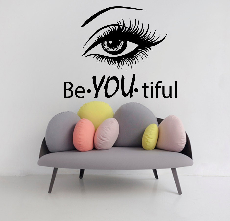 Eye wall decals girl model beautiful words beauty salon vinyl zoom amipublicfo Images