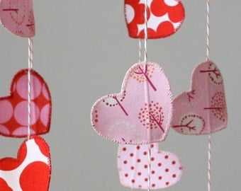 Heart mobile - child mobile baby nursery decoration - heart - valentine