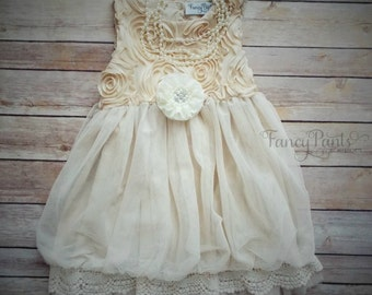 Ivory Toddler  Dress,  Vintage Dress,  Flower girl dress, Beige Toddler Dress, Girls Dress, Rustic Wedding, Ivory Dress, Toddler Dress