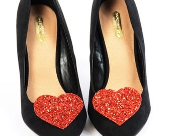 Red Glitter Heart Shoe Clips (set of two), handmade in the UK