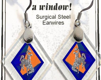 """Earrings """"Wyoming Bucking Horse & Rider(TM) in Blue and Orange"""" from rescued, repurposed window glass~Licensed Product"""