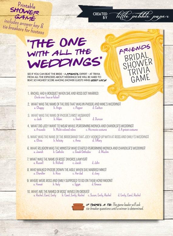 Wedding Gift Quiz : Show TRivia Bridal Shower Game Printable, FRIENDS Trivia Quiz, Bridal ...
