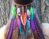 Bird of Paradise 2 - Feather, headband, native, american, style, hippie, hippy, bohemian, boho, edm, plur, wedding, veil, rainbow, colorful