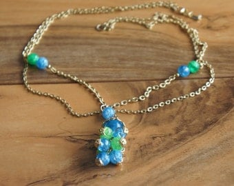 Vintag  Chain Necklace  Jewelry Pendant  Gold Openwork Weaving   Drop Part  Green Blue E-170
