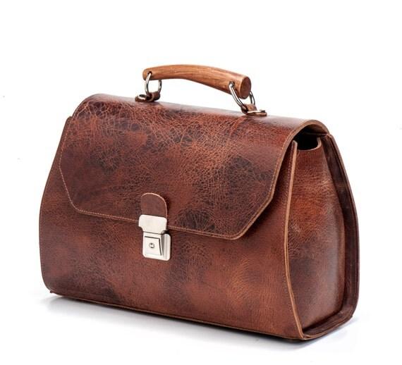 Brown Messenger Bag / Leather Tote Bag / Women Purse / Office Bag / Cross Body Bag / Every Day Bag / Classic Bag / Shoulder Bag - Ivory