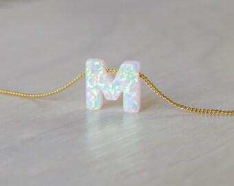 Opal necklace, opal letter necklace, opal gold necklace, opal jewelry, tiny dot necklace, opal bead necklace, dot necklace, white opal