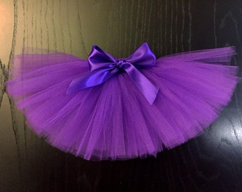 Purple Dog Tutu with Satin Bow made with Soft Tulle - Halloween Pet Tutu Costume