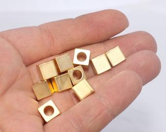 2 Pcs 8x8mm 24k Matt Gold Cube Beads, Square Tubes, Tube Beads, Cube Beads, Gold Cube Beads , BRT66