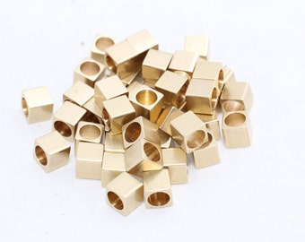 50 Pcs 5mm Raw Brass Cube Beads, Solid Brass Cube Beads, industrial spacer, Spacer Beads, KA44