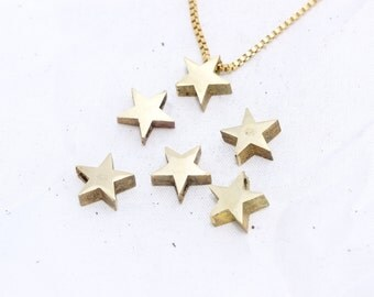 2 Pcs 8x10mm Raw Brass Star Beads, Star Pendant, Star Charms, Star Necklace, initial pendant, KA68