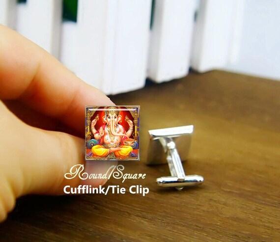 Indian lord ganesha cufflinks, custom god buddha India cuff links, custom round or square cufflinks & tie clip, ganesh, ganesha, elephant
