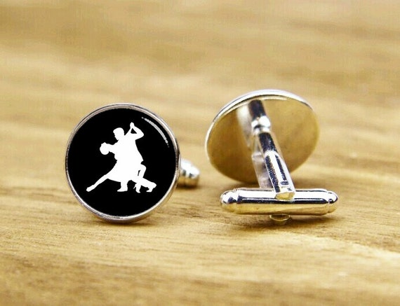 salsa cufflink, tango cufflink, waltzing cufflinks, waltz cuff links, custom dancing cuff links, custom round or square cufflinks & tie clip