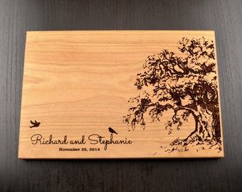 Personalized Cutting Board, Custom Wedding Gift, Housewarming Gift, Anniversary Gift, Engraved Wood Chopping Block, Hostess Gift, Tree Birds