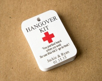 Hangover Kit Tags (1.75 by 1.25 inches), Hangover Kit Wedding Favor Tags, Customized Favor Tags, Match Color to your Wedding