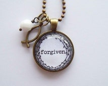 Forgiven Necklace - One Word Jewelry - Inspirational Pendant - Text Jewelry - Custom Jewelry - You Choose Bead and Charm - Christian Pendant