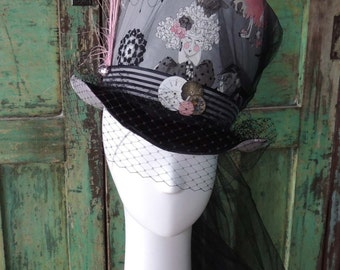 Steampunk Mad Hatter Tophat Cosplay Costume Millinery - Custom made Ladie's Top Hat