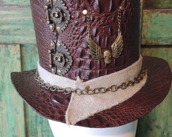 Barnabas - Steampunk Mad Hatter Embossed Leather Tophat - Cosplay Costume Millinery - Custom made Victorian Style Top Hat