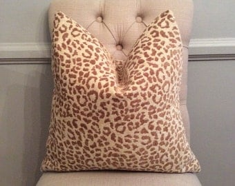 Handmade Decorative Pillow Cover - Animal Print - Leopard - Neutral - Tan - Chenille