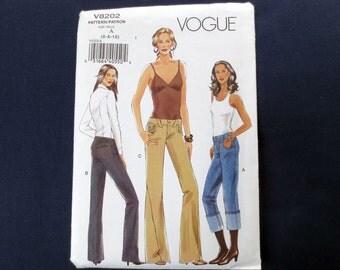 Low-Rise Pants Uncut Pattern, Vogue 8202, Size 6, 8, 10