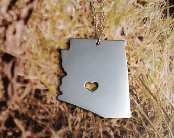 Sterling Silver Arizona State Necklace AZ State Charm Necklace State Shaped Necklace Personalized State Necklace Christmas Gift With A Heart
