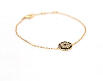 Evil eye bracelet, gold evil eye bracelet, dainty bracelet, simple, everyday.