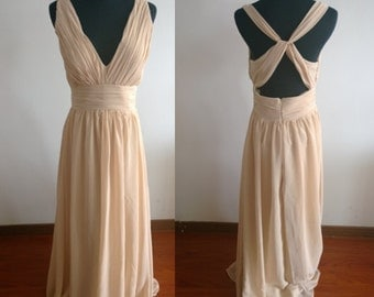 Cheap Simple champagne Bridesmaid Dress,Chiffon Ruched Prom Dress/Party/Bridesmaid Dress,Bridesmaid Dress With Straps