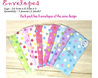 Colourful and Cute Envelopes Pack of 5 Polka Dots