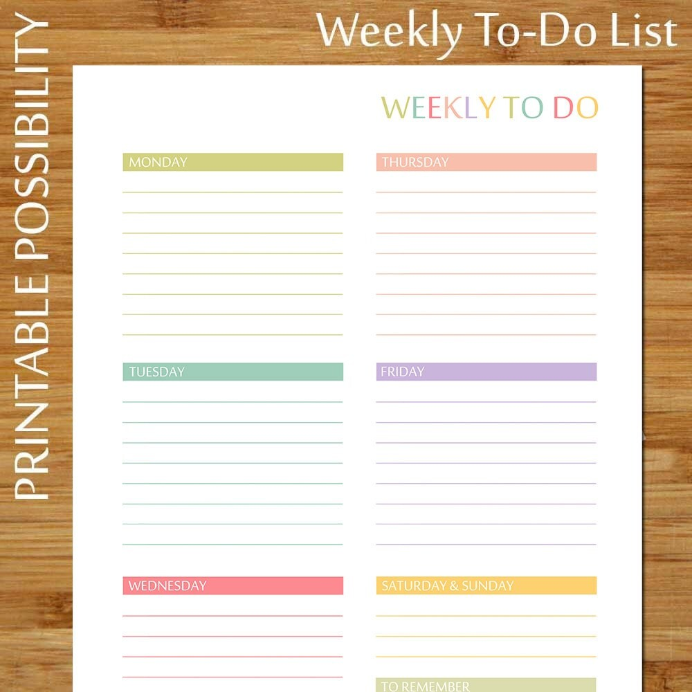This is a photo of Mesmerizing Printable Weekly to Do List
