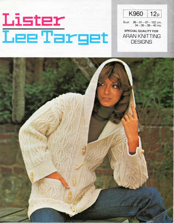 Knitting Pattern Ladies Hooded Jacket : Vintage womens aran hooded jacket knitting pattern PDF ladies