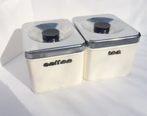Mid Century Coffee Tea Canisters White Metal Vintage Dry Good Storage