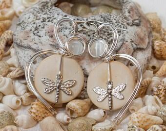 Dragonfly Earrings, Dragonflies, Dragonfly Jewelry, Insect Earrings, Insect Jewelry, Bohemian Earrings, Neutral Earrings, Coconut Shells