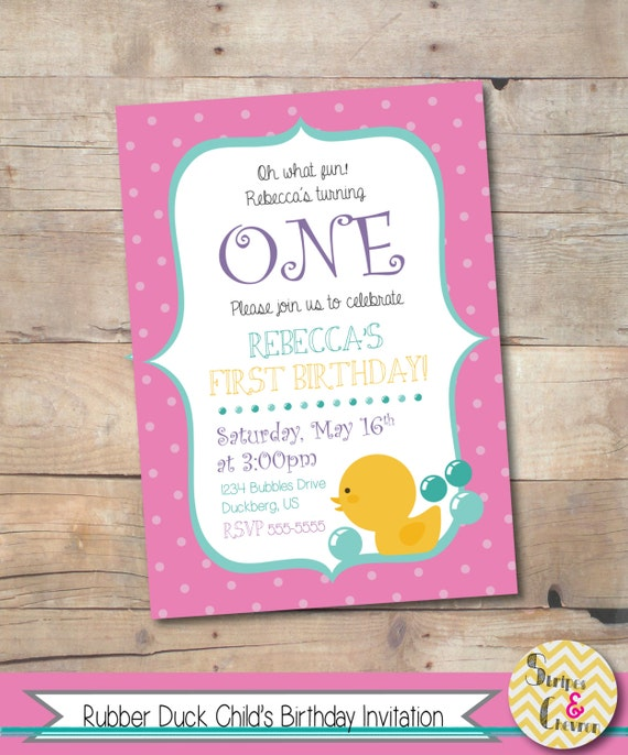 Rubber Duck Birthday Invitation Printable Girl Birthday Invite - First birthday invitations girl online
