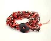 Red Odyssey Bracelet,  Red and black cotton wax cord bracelet, Red 2 layer beaded bracelet